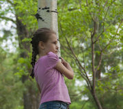 A girl hugging a birch tree Stock Image