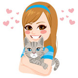 Girl Hugging Cat Royalty Free Stock Photo
