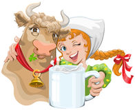 Girl hugging a cow and a farmer holding a cup of milk Stock Image