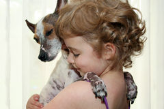 Girl Hugging Dog. A little girl lovingly hugs her pet dog Stock Photo