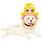 Girl Hugging Dog. Beautiful blonde little girl hugging golden retriever dog pet royalty free illustration