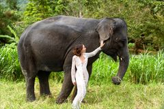 Girl hugging an elephant in the jungle royalty free stock images
