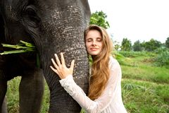Girl hugging an elephant in the jungle stock photo