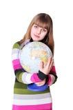 Girl hugging globe royalty free stock photography