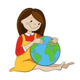 Girl hugging globe cartoon vector illustration Royalty Free Stock Photography