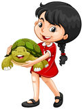 Girl hugging green turtle Royalty Free Stock Photography