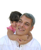 Girl hugging her daddy. Little girl with her father Royalty Free Stock Image