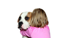 Girl Hugging Her Dog Royalty Free Stock Photo