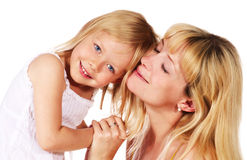 Girl hugging her mother Royalty Free Stock Photo