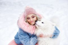 Girl hugging her pet. beautiful girl and her pet stock images