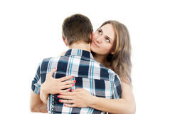 Girl hugging a loved one guy Royalty Free Stock Images