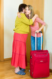 Girl  hugging  mother at the door Stock Image