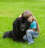 Girl hugging Newfoundland dog Stock Image