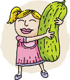 Girl Hugging Pickle Stock Image