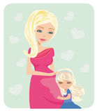 Girl hugging pregnant mother's belly. Vector Illustration Royalty Free Stock Photography
