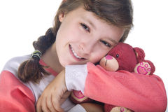 Girl hugging Teddy Bear Stock Image