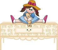 Girl hugging teddy bear on the chest of drawers Royalty Free Stock Photo