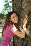 Girl Hugging Tree Royalty Free Stock Photography