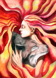 The girl hugging the wolf Stock Images
