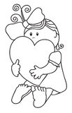 Girl hugs heart. Contour Royalty Free Stock Photo