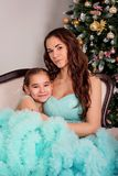 The girl hugs her mother sitting near a Christmas tree in the lush blue evening dresses. The girl hugs her mother sitting near a new year tree in the lush blue royalty free stock photos