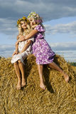 Girl hugs her sister Royalty Free Stock Photography
