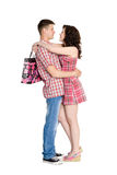 Girl hugs your guy. Royalty Free Stock Photo