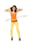 Girl with hula hoop Royalty Free Stock Photos