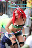 Girl and hula hoop Stock Photo