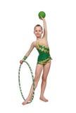 Girl with hula hoop and ball Royalty Free Stock Photos