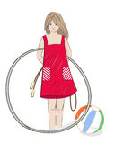 Girl with hula hoop, beach ball and skipping rope Royalty Free Stock Image