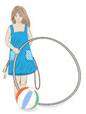Girl with hula hoop, beach ball and skipping rope Stock Photos