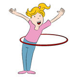 Girl and Hula Hoop Cartoon Stock Image