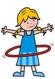 Girl and hula hoop, cute vector illustration