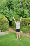 Girl with a Hula Hoop Stock Photo