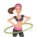 Girl with hula hoop. Vector illustration Stock Photo