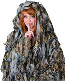 Girl in hunting camouflage Royalty Free Stock Photography