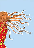 Girl in a hurry with her hair fluttering Stock Images