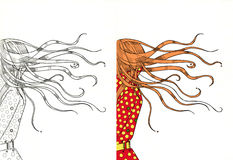 Girl in a hurry with her hair fluttering Royalty Free Stock Photo