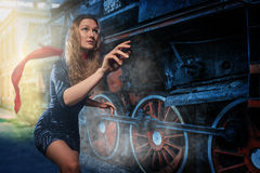 A girl in a hurry to catch a train Stock Photography