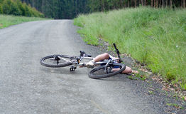 Girl hurt crashing bicycle accident Stock Image