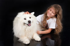 Girl And Husky Royalty Free Stock Images