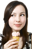 Girl with ice cream. Isolated on white Royalty Free Stock Image