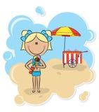 Girl with ice-cream Stock Photo