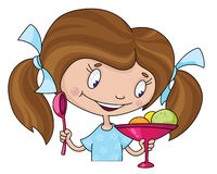 Girl and ice cream. Illustration of a girl and ice cream Royalty Free Stock Photos
