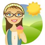 Girl with an ice cream. An illustration of a girl holding an ice cream Stock Photos