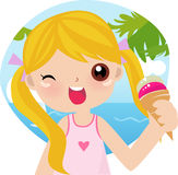 Girl with ice cream Royalty Free Stock Images