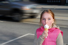 Girl ice cream Stock Image