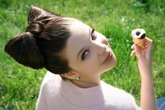 Girl with ice-cream Stock Photos