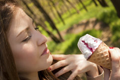 Girl with ice cream Stock Image